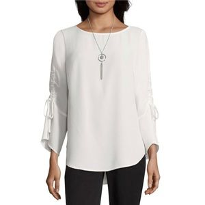 """NWT Alyx 3/4"""" Shirred/Tie Sleeve Blouse w/Necklace"""